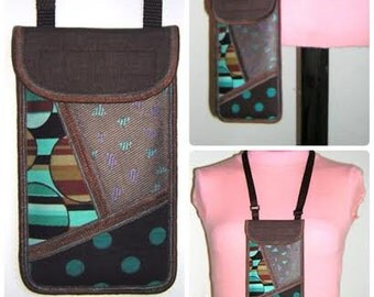 iPhone 6 Plus Case Neck Pocket Smartphone Purse Crossbody Cellphone Cover Small Shoulder Cute Mini Sling Bag mixed fabrics brown turquoise