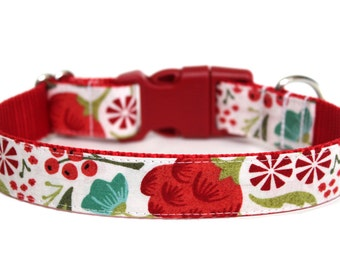 "Christmas Dog Collar 1"" Winter Dog Collar SIZE MEDIUM Ready To Ship"