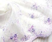 "10 meter 15cm 5.9"" wide ivory purple tulle fabric mesh gauze embroidered tapes lace trim ribbon V20W185K0303R free ship"