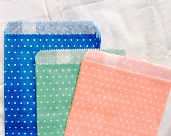 """50 Polka Dot Paper Bags,Gift Bags,Party Bags,Assorted colors,Peach,Green and Blue (Size 5 1/8"""" X 6 1/2"""")"""
