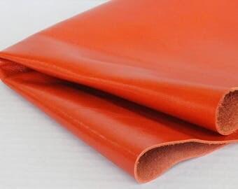 New Orange  Genuine Leather Orange-Red Cowhide Lather