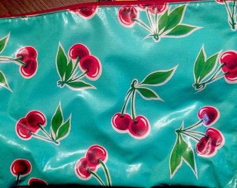 Oilcloth Tote Zippered Pouch Aqua Cherries Vintage Style