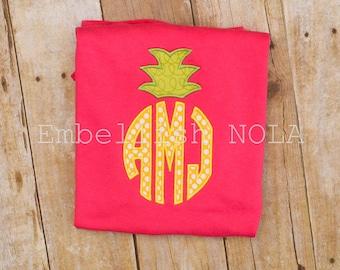 Pineapple Applique Monogrammed Hot Pink Dress