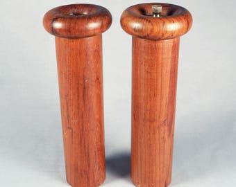 Danish Modern, teak, Pepper mill and Salt shaker, mushroom form