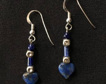 Vintage AFGHANISTAN Lapis Lazuli Dainty Heart Earrings Sterling Silver Pierced Uber Kuchi®