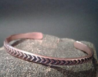Rustic Thin Copper Arrow Cuff, Valentine for him, Copper Cuff, stamped jewelry, copper wrist band, copper cuff, holistic, healing, spiritual