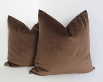 Brown Velvet Pillow Covers- Brown Pillows- Velvet Pillow Covers- Dark Brwon Velvet Pillow Covers- 18x18/20x20/22x22