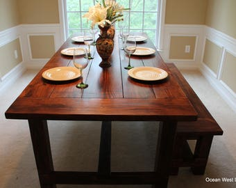 Farmhouse Kitchen Table / Farmhouse Dining Table / Rustic Farmhouse Table / Farm Style Table / Harvest Table / Custom & Handcrafted
