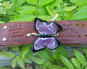 Purple Glass Butterfly on a Handstamped Leather Cuff