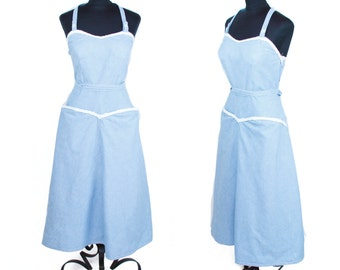 1950s Dress // Summer Chambray Halter Top Oversized Pocket Wrap Dress by White Stag