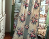RESERVED Vintage 1940's Barkcloth Nubby Drapery Fabric Panel Federal Bouquet 82 x 40 Cutter