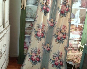 Vintage 1940's Barkcloth Nubby Drapery Fabric Panel Federal Bouquet 82 x 40 Cutter