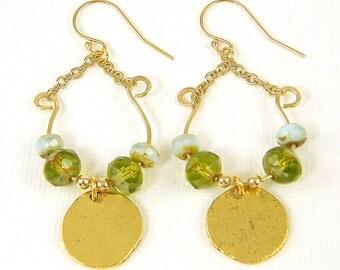 Green Gold Dangle Earrings, Green Swing Earrings, Chain Hoop Earrings U Green Gold Charm Earrings, Chain Drop Earrings |EC3-7