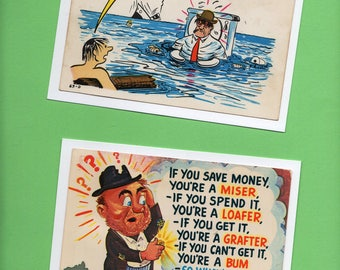4 x 6  Comic Notecards  Postcards Flood Bum Vacation Potty Toilet Break Set of FOUR All Purpose Greetings 1940's/1950's .