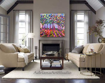 "ORIGINAL Landscape Oil Painting 28""x28""x1"" Abstract Tree Painting - Contemporary Impressionism Textured Wall Art on Stretched Canvas"