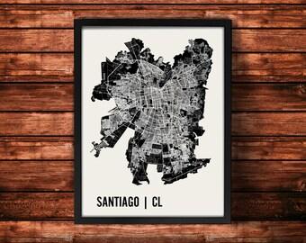 Santiago Map Art Print | Santiago Print | Santiago Art Print | Santiago Poster | Santiago Gift | Wall Art