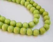 Lime Green wood beads round 12mm full strand eco-friendly Cheesewood 9491NB