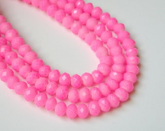 Cotton Candy Neon Pink faceted glass rondelle beads 6x4mm half strand 06-951