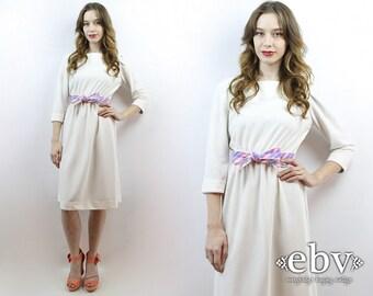 70s Dress 1970s Dress White Dress 70s Party Dress 1970s Party Dress Summer Dress Striped Dress Secretary Dress S M