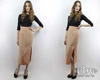 Polka Dot Skirt Midi Skirt High Waisted Skirt High Waist Skirt 90s Skirt 1990s Skirt Secretary Skirt Maxi Skirt S