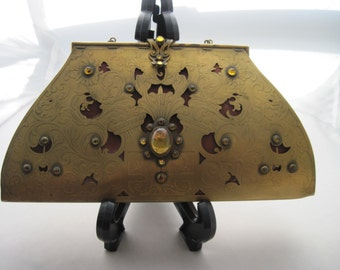 Art Deco Gilt Metal and Yellow Glass Stone Cloth Lined Purse