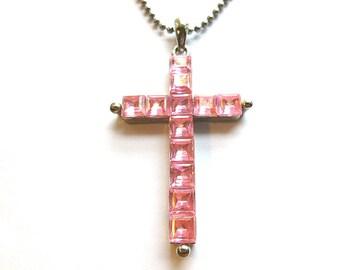 VINTAGE PINK Silvertone Cross, Pink Square Cut Beaded Cross, 1970s Feminine Pink Cross, Cross Pendant & Ball Chain, Ladies Cross Necklace