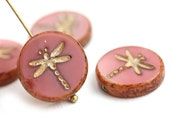 4pc Coral Pink Dragonfly beads, Golden Wash, pink and gold czech glass table cut beads - 17mm - 2681