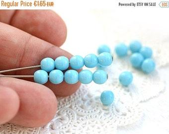 ON SALE 5mm Sky blue beads, czech glass beads, round spacers, druk, blue glass beads - 40Pc - 0537