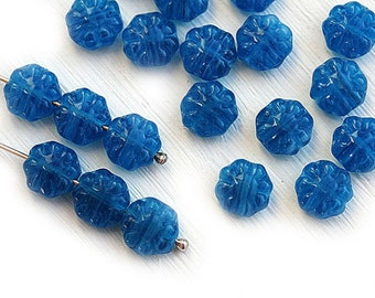 Dark Blue Flower beads, czech glass, flat daisy, floral beads, jeans blue pressed beads - 9mm - 20Pc - 1279