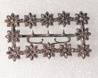 Antique Belt Buckle Steel Cut Belt Buckle Flower Belt Buckle Georgian French Accessories Collectibles