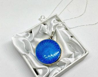 Antique 1920's Sterling Silver & Sea Blue Guilloche Enamel Locket