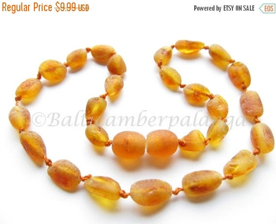 17%OFF--CHRISTMAS SALE Raw Unpolished Baltic Amber Baby Teething Necklace Olive Form Cognac Color Beads