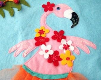 Vintage Christmas Tree Skirt, Pink Flamingos, Tropical Florida Beach, Palm Trees, Glitter, Sequins, Sparkles