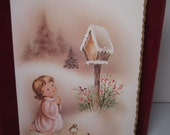 RESERVED 4 D  1950's gold gilded w/ mica glitter christmas card A Christmas Prayer, little girl kneeling and praying next to birds in forest