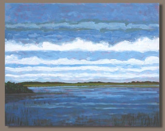 FREE SHIP abstract painting, marsh painting, oblong format, gestural, landscape, blue, clouds, water, impressionism, east coast nova scotia