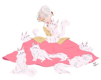 Marie Antoinette's Kitty Court (Charity Print)