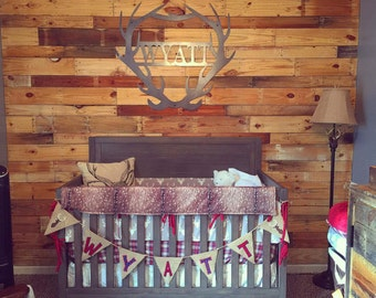 Woodland Boy Crib Bedding- Gray Buck, Deer Skin Minky, White Tan Arrow, Red Navy Plaid, and Crimson Crib Bedding Ensemble