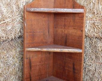 Barnwood  Corner Shelf - 32 inches tall, 3 shelves