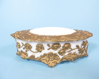 Mid Century Milk Glass Gold Accent Trinket Box - Victorian Milk Glass Gold Gild Box