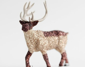 Woodland Home Decor Forest Reindeer Brown Glittered Wedding or Christmas Party Decoration for Entertaining Table Centerpiece