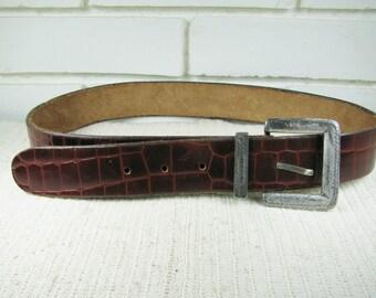 Vintage heavy leather mock reptile cordovan belt size 34-38