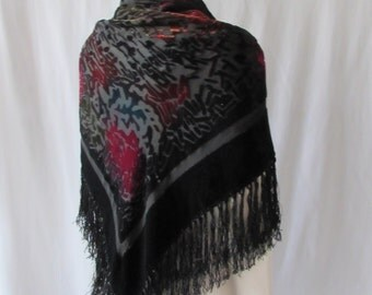 Scarf /Wrap/Shawl Large black fringed Blue Pink Detail Cut Velvet Silk fringe