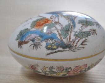 Vintage Wedgwood Kutani Crane Design Egg Trinket Pot, 2.75 inches x 2 inches, good condition