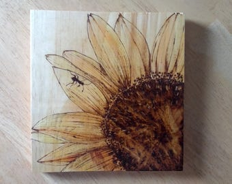 Sunflower Woodburning