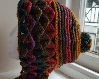 Handmade crochet dragon scale / crocodile stitch  hat   made in snowdonia wales