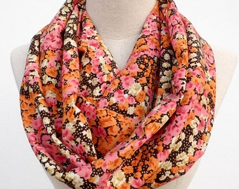 Floral Scarf, Flower Scarf, Summer Floral Scarf, Floral Infinity Scarf, Loop Circle Scarf, Women Scarf