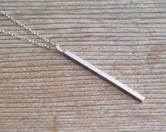 Sterling Silver Stick Necklace, Slim Silver Stick Pendant Necklace, Minimalist Necklace, Dainty Necklace, Everyday Jewelry, Bridesmaid Gift