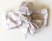 Lavender Floral - Newborn Baby Toddler Girl Headwrap Cotton Head Wrap Bow Turban Hair Bow Floral Boho Headband