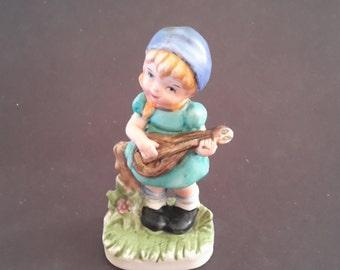 Girl Mandolin  Figurine Enesco Vintage