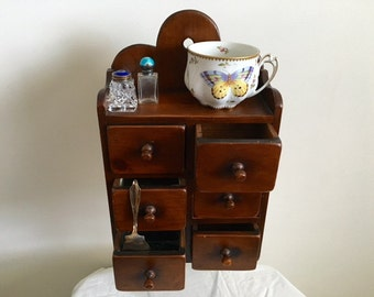 Antique Small Hanging and Wall Wood Spice Cabinet with 6 dravers